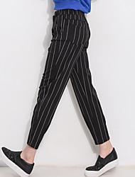 Sign 2016 new fall was thin vertical stripes pantyhose feet long sports pants female harem pants big yards