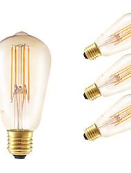 6W E26/E27 LED лампы накаливания ST58 4 COB 550 lm Янтарный Регулируемая / Декоративная AC 220-240 V 4 шт.