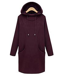 Normal Hoodies Femme Décontracté / Quotidien / Grandes Tailles simple,Couleur Pleine Rouge / Noir Capuche Manches Longues CotonAutomne /