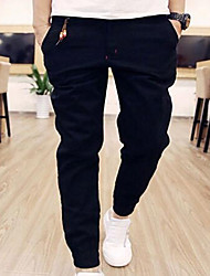 Men's Straight Chinos Pants,Casual/Daily Simple Solid Low Rise Zipper Cotton Inelastic All Seasons