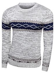 Men's Casual Slim Striped Diamond Knitted Pullover O Neck Long Sleeve Cotton Fall / Winter Medium Micro-elastic