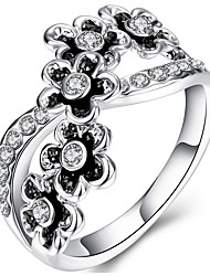 New Flower Oil Drop Ring 18K white Plated Fashion Ring For Women With Rhinestone Crystal Fashion Jewelry Gold Ring