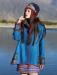Our Story Women's Casual/Daily Boho CoatEmbroidered Hooded Long Sleeve Winter Blue Wool / Acrylic / Others