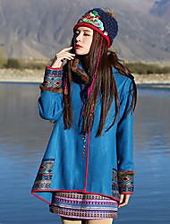 Feminino Casaco Casual Boho Inverno,Bordado Azul Lã / Acrílico / Outros Com Capuz-Manga Longa