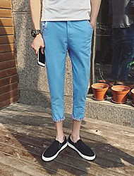 Men's Skinny Jeans Pants,Casual/Daily Simple Solid Mid Rise Zipper Polyester Micro-elastic Summer