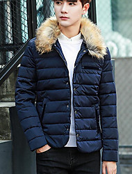 Men's Regular Down Coat,Simple Casual/Daily Solid-Polyester White Duck Down Long Sleeve Stand Blue / Black / Brown