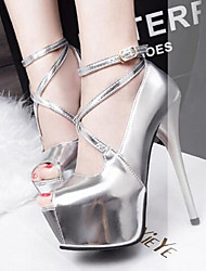 Women's Heels Platform PU Party & Evening Platform Black Silver Gold