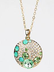 Femme Pendentif de collier Bijoux Cristal Alliage Circulaire Pendant Mode Européen Bleu clair Champagne Bijoux PourMariage Soirée