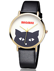 BAOSAILI Women's Fashion Watch Cat Case Japanese Quartz Colorful Leather Band Flower / Casual Black / White / Red Brand