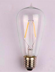 2W E26/E27 Ampoules à Filament LED ST58 2 SMD 2835 200 lm Blanc Chaud Décorative AC 100-240 V 1 pièce