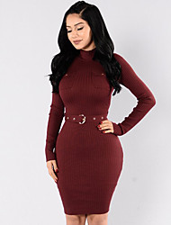 Women's Going out / Casual/Daily Simple / Street chic Bodycon Knit Slim DressSolid Crew Neck Above Knee Long Sleeve