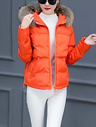 Manteau Rembourré Femme,Court simple Sortie Couleur Pleine-Polyester Polypropylène Manches Longues Bleu / Rose / Vert / Orange Capuche