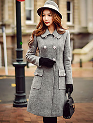 Women's Going out / Casual/Daily / Work Vintage / Street chic / Sophisticated CoatSolid Hooded Long Sleeve Fall / Winter Wool Coat