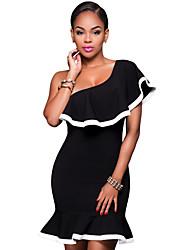 Women's Off The Shoulder|Ruffle Black White Trim Single/Off Shoulder Dress