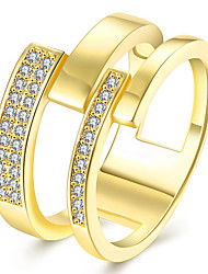 Hollowed Out Antiallergic 18K Yellow Gold / Rose Gold 2 Layer Zircon Rings For Women Wedding Engagement Ring R119