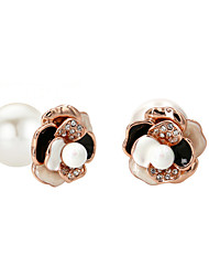 Earring Imitation Pearl / AAA Cubic Zirconia Stud Earrings Jewelry Women Party / Daily Gold Plated 1 pair Gold