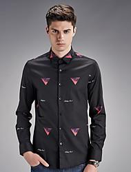 Men's Wedding / Work Vintage / Street chic Shirt,Print Shirt Collar Long Sleeve Black Cotton