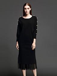 Set Jupe Costumes Femme,Couleur Pleine Décontracté / Quotidien simple Automne / Hiver Manches ¾ Col Arrondi Noir Autres Moyen