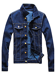 Men's Plus Size / Casual/Daily / Club Vintage / Simple / Street chic Denim Jackets,Solid Stand Long Sleeve Fall / Winter Blue Cotton
