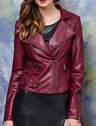 Women's Casual/Daily Simple Leather Jackets,Solid Long Sleeve Red PU