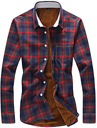 Men's Going out / Casual/Daily / Sports Simple / Street chic Winter Shirt,Check Shirt Collar Long Sleeve Blue / Red / Green / Orange