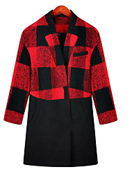 Women's Plus Size / Casual/Daily Simple Coat,Plaid Long Sleeve Fall / Winter Red Special Leather Types