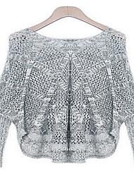 Damen Standard Pullover-Ausgehen Lässig/Alltäglich Einfach Niedlich Solide Grau V-Ausschnitt Langarm Polyester Sommer Mittel