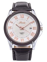 Men's Wrist watch Quartz Calendar Genuine Leather Band Cool Casual Black