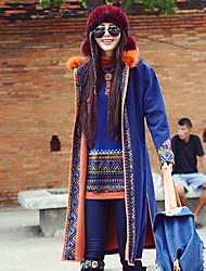 Feminino Casaco Casual Boho Inverno,Bordado Azul Lã / Poliéster Com Capuz-Manga Longa