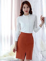 Feminino Camiseta Informal / Casual Sensual / Moda de Rua Outono / Inverno,Sólido Branco / Preto / Cinza Fibra Sintética Colarinho Chinês