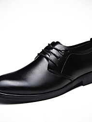 Men's Oxfords Spring Fall Platform Others Cowhide Office & Career Casual Low Heel Lace-up Black