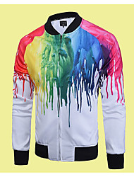 Men's Casual/Daily Simple / Active Jackets,Print / Rainbow Stand Long Sleeve Fall Multi-color Polyester Medium