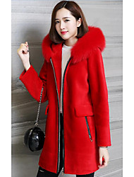 Women's Plus Size / Casual/Daily Simple Coat,Solid Hooded Long Sleeve Fall / Winter Pink / Red / Gray / Green Wool
