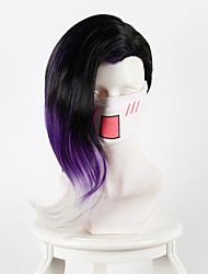 Overwatch Sombra Black Purple Gradient Half Head Long Hair Anime Cosplay Wigs