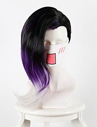 regarder le pionnier des ombres noires gradient noir violet à long cosplay cheveux animation perruque perruques synthétiques
