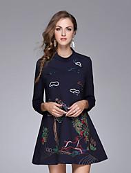 das Nedo mulheres casuais uma linha / diária simples dressembroidered acima do joelho manga longa lã / poliéster
