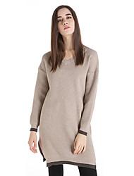 Damen Lang Pullover-Lässig/Alltäglich Retro Solide Rosa Beige Schwarz Braun Grün V-Ausschnitt Langarm Wolle Winter Mittel Mikro-elastisch