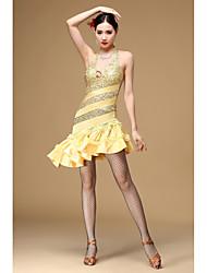 Dança Latina Vestidos Mulheres Actuação Poliéster Paetês 1 Peça Sem Mangas Alto Vestidos M=96CM;L=96CM