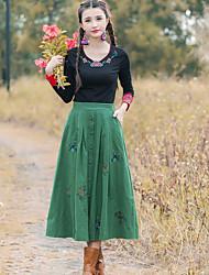 Damen Röcke,Schaukel einfarbig Bestickt,Lässig/Alltäglich Einfach Mittlere Hüfthöhe Midi Kordelzug Baumwolle / Leinen Micro-elastisch