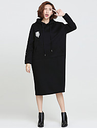 Women's Beach Street chic / Sophisticated Loose Dress,Solid / Print Hooded Midi Long Sleeve Black Cotton Spring / Winter Mid Rise
