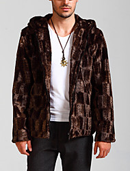 Men's Casual/Daily Simple Jackets,Solid Hooded Long Sleeve Winter Brown Faux Fur Thick