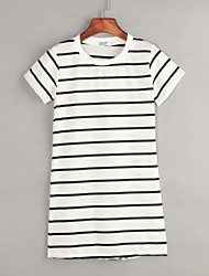 Women's Casual/Daily Shift Dress,Striped Round Neck Mini Short Sleeve White / Black Cotton All Seasons
