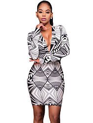 Women's Formal / Club Sexy Bodycon Dress,Check Deep V Asymmetrical Long Sleeve White Polyester All Seasons Mid Rise Micro-elastic Medium