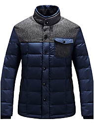 Men's Padded Coat,Simple Plus Size Solid-Cotton Polyester Long Sleeve Hooded Blue / Black / Yellow