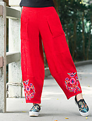 Women's Embroidery  autumn  wide leg pants pantyhose pants embroidered ethnic style