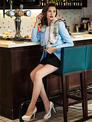 TS Fur Collar Black Flower Decor Gemstones Woollen Coat