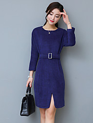 Sign new winter women's Slim thin woolen long-sleeved dress big yards long section bottoming skirt