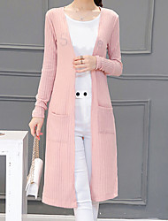 Women's Casual/Daily Simple Long Cardigan,Solid  V Neck Long Sleeve Cotton Spring Medium