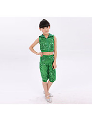 Jazz Kid's Cotton Sequin 2 Pieces Sleeveless Dropped Tops Pants