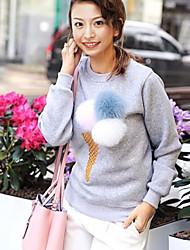Damen Standard Pullover-Ausgehen Lässig/Alltäglich Niedlich Solide Blau Rot Weiß Braun Grau Rundhalsausschnitt Langarm BaumwolleHerbst